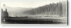 Misty Morning In Yosemite Sepia Acrylic Print by Jane Rix