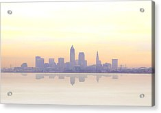 Misty Sunrise In Cleveland Acrylic Print by Kitty Ellis