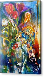 Mixed Media Tulips Acrylic Print by Donna Acheson-Juillet