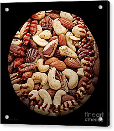 Mixed Nuts Baseball Square Acrylic Print by Andee Design