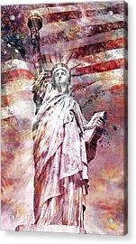 Modern Art Statue Of Liberty Red Acrylic Print by Melanie Viola