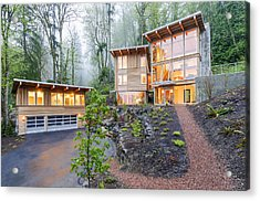 Modern House Illuminated In Woods Acrylic Print by Will Austin