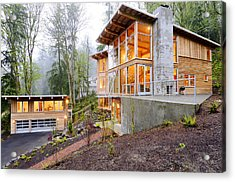 Modern House In Woods Acrylic Print by Will Austin