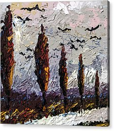 Modern Italian Landscape Trees Paintings Triptych Abstract Mixed Media Art Acrylic Print by Ginette Callaway