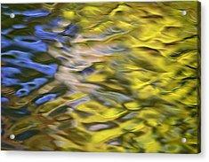 Mojave Gold Mosaic Abstract Art Acrylic Print by Christina Rollo