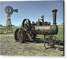 Molson Washington Ghost Town Steam Tractor And Wind Mill Acrylic Print by Daniel Hagerman