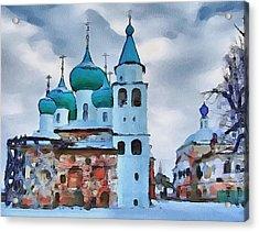 Monastery Construction Acrylic Print by Yury Malkov