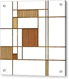 Mondrian In Wood Acrylic Print by Yo Pedro