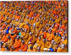 Monk Mass Alms Giving In Bangkok Acrylic Print by Fototrav Print