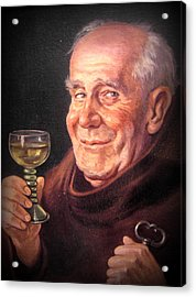 Monk With Wineglass And Key Acrylic Print by The Creative Minds Art and Photography