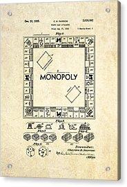 Monopoly Board Game Patent Art Acrylic Print by Gary Bodnar