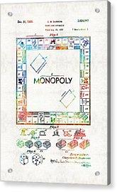 Monopoly Game Board Vintage Patent Art - Sharon Cummings Acrylic Print by Sharon Cummings