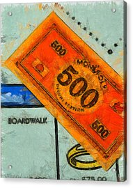 Monopoly Money Acrylic Print by Dan Sproul