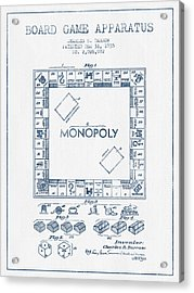 Monopoly Patent From 1935 - Blue Ink Acrylic Print by Aged Pixel