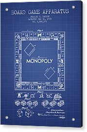 Monopoly Patent From 1935 - Blueprint Acrylic Print by Aged Pixel
