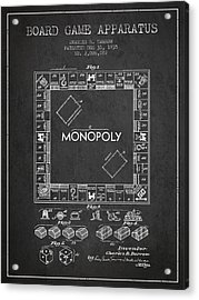 Monopoly Patent From 1935 - Dark Acrylic Print by Aged Pixel