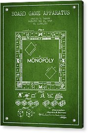Monopoly Patent From 1935 - Green Acrylic Print by Aged Pixel