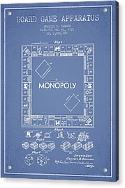 Monopoly Patent From 1935 - Light Blue Acrylic Print by Aged Pixel