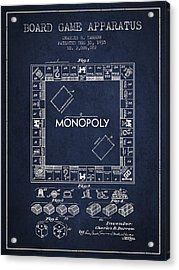 Monopoly Patent From 1935 - Navy Blue Acrylic Print by Aged Pixel