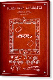 Monopoly Patent From 1935 - Red Acrylic Print by Aged Pixel