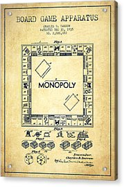 Monopoly Patent From 1935 - Vintage Acrylic Print by Aged Pixel
