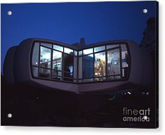 Monsanto House Of The Future At Disneyland At Night 1961 Acrylic Print by The Phillip Harrington Collection