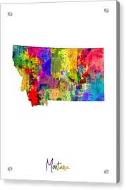 Montana Map Acrylic Print by Michael Tompsett