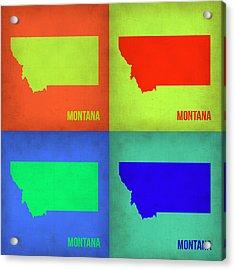 Montana Pop Art Map 1 Acrylic Print by Naxart Studio