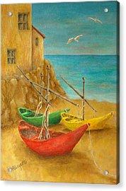 Monterosso On Riviera Di Levante Acrylic Print by Pamela Allegretto