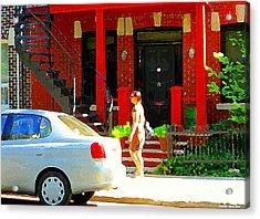 Montreal Art Summer Stroll On A Sunny Morning Colorful Street Verdun City Scene Carole Spandau Acrylic Print by Carole Spandau