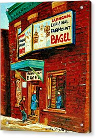 Montreal Bagel Factory Famous Brick Building On Fairmount Street Vintage Paintings Of Montreal  Acrylic Print by Carole Spandau