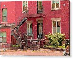 Montreal Memories The Old Neighborhood Timeless Triplex With Spiral Staircase City Scene C Spandau  Acrylic Print by Carole Spandau