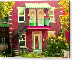 Montreal Stairs Painted Brick House Winding Staircase And Summer Awning City Scenes Carole Spandau Acrylic Print by Carole Spandau