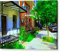 Montreal Stairs Shady Streets Winding Staircases In Balconville Art Of Verdun Scenes Carole Spandau Acrylic Print by Carole Spandau