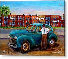 Montreal Taxi Driver 1940 Cab Vintage Car Montreal Memories Row Houses City Scenes Carole Spandau Acrylic Print by Carole Spandau