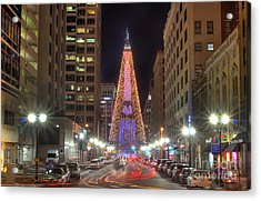 Monument Circle Christmas Tree Acrylic Print by Twenty Two North Photography