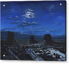 Monument Valley By Moon Light Acrylic Print by Timithy L Gordon