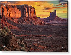 Monument Valley Sunrise Acrylic Print by Priscilla Burgers