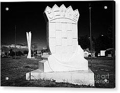 monumento al inmigrante croata croatian immigration monument in front of yugoslavian monument Punta Arenas Chile Acrylic Print by Joe Fox