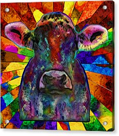 Moo Cow With Color Acrylic Print by Jack Zulli