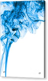 Abstract Vertical Deep Blue Mood Colored Smoke Art 03 Acrylic Print by Alexandra K
