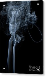 Abstract Vertical White Mood Colored Smoke Wall Art 02 Acrylic Print by Alexandra K