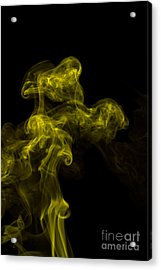 Abstract Vertical Yellow Mood Colored Smoke Wall Art 02 Acrylic Print by Alexandra K