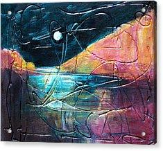 Moon And Lagune Acrylic Print by Betty Pieper