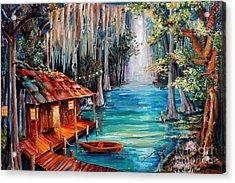 Moon On The Bayou Acrylic Print by Diane Millsap