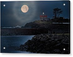 Moon Over Battery Point Acrylic Print by James Heckt