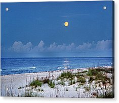 Moon Over Beach Acrylic Print by Michael Thomas