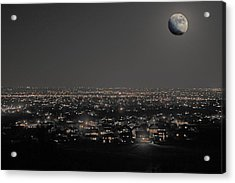 Moon Over Fort Collins Acrylic Print by David Kehrli
