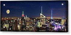 Moon Over Manhattan At Twilight Acrylic Print by Lee Dos Santos