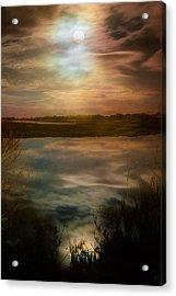 Moon Over Marsh - 35mm Film Acrylic Print by Gary Heller